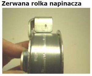 Awaria napędu pasowego wskutek zerwania rolki napinacza po pęknięciu śruby dwustronnej M10