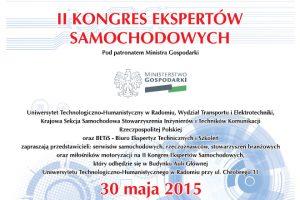 II Kongres Ekspertów Samochodowych już wnajbliższą sobotę