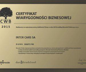 Wiarygodność Inter Cars potwierdzona certyfikatem