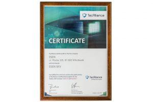 Certyfikat TecAlliance dla dystrybutora części SKV.