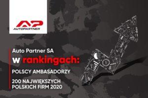 Auto Partner w rankingach: Polscy Ambasadorzy i 200 Największych Polskich Firm 2020